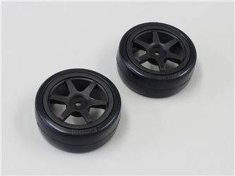 DRIFT PRE-GLUED TYRES 24MM 1:10 ON BLACK RIMS (2)
