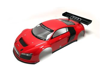 Pre-painted 1:8 GT2 Bodyshell Audi R8 LMS - Red