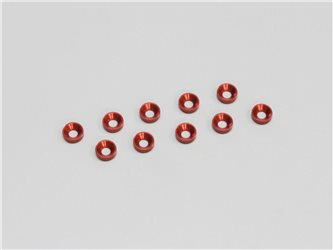 3MM FLAT HEAD WASHER RED (10)