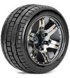 Roapex Stadium Truck 1:10 tyre TRIGGER on Chrome Black wheels 12mm(2)