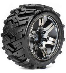Roapex Stadium Truck 1:10 tyre MORPH on Chrome Black wheels 12mm (2)