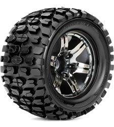 Roapex Monster Truck 1:10 tyre TRACKER on Chrome Black wheels 12mm (2
