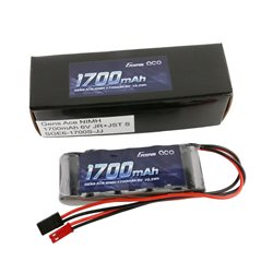 Gens ace Rx Battery NiMh 6.0V-1700Mah (Dual JR-JST) 125g - Straight