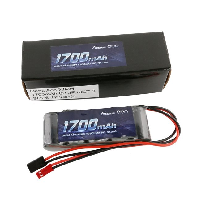Gens ace Rx Battery NiMh 6.0V-1700Mah (Dual JR-JST) 125g - Straight