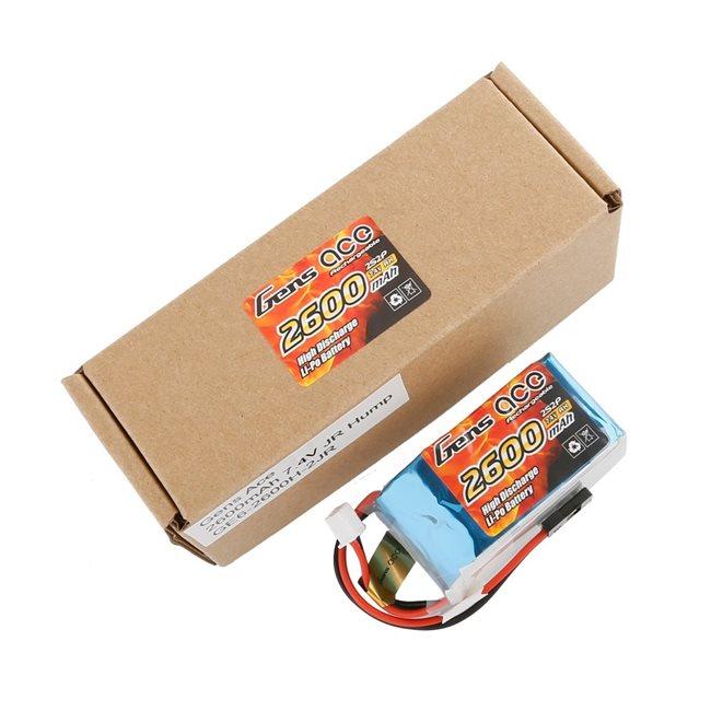 Gens ace Rx Battery LiPo 2S-7.4V-2600 (JR plug) 96g - Hump