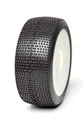1:8 BUGGY TYRES ON EVO WHITE RIMS P1 SOFT LONG WEAR (2)
