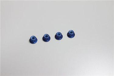 ALU NYLON LOCK FLANGED NUTS M4X4.5 - BLUE (4)